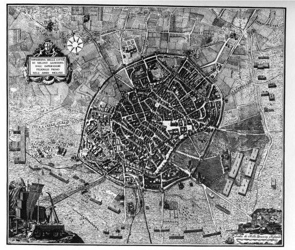 Cartina Milano 800.Nero Cartografie Milanesi 1300 1860